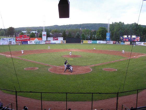 A view of the field from behind Home Plate